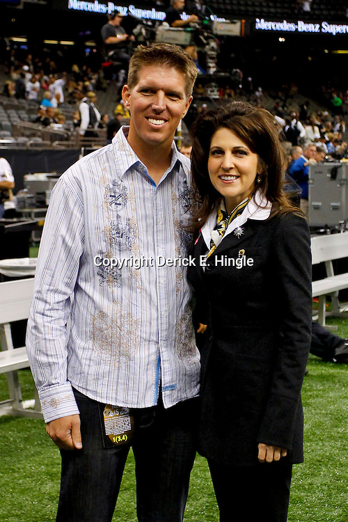 October 7, 2012; New Orleans, LA, USA; Joe Unitas with New Orleans Saints owner Rita Benson LeBlanc prior to kickoff of a game against the San Diego Chargers at the Mercedes-Benz Superdome. Mandatory Credit: Derick E. Hingle-US PRESSWIRE