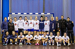 Team photo after the practice session of Slovenian Women handball National Team three days before match against Serbia, on October 24, 2013 in Arena Tivoli, Ljubljana, Slovenia. (Photo by Vid Ponikvar / Sportida)