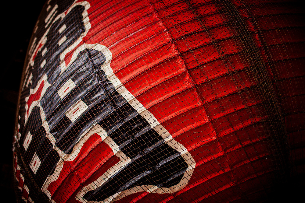 A detail of a red paper lantern at a temple in Tokyo, Japan.