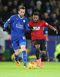 Christian Fuchs of Leicester City (L) and Stephane Sessegnon of West Bromwich Albion in action - Mandatory byline: Jack Phillips/JMP - 01/03/2016 - FOOTBALL - King Power Stadium - Leicester, England - Leicester City v West Bromwich Albion - Barclays Premier League