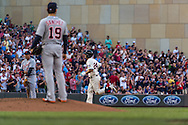 Trevor Plouffe #24 of the Minnesota Twins rounds the bases after hitting a home run of Anibal Sanchez #19 of the Detroit Tigers on June 15, 2013 at Target Field in Minneapolis, Minnesota.  The Twins defeated the Tigers 6 to 3.  Photo: Ben Krause