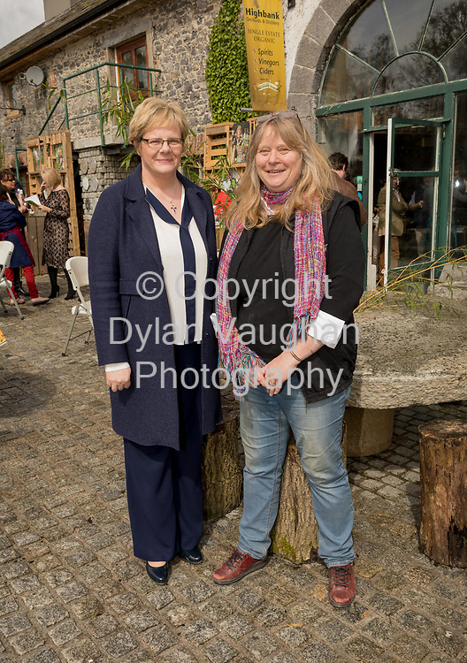 Repro Free No charge for Repro<br /> <br /> 24-4-17<br /> <br /> Helen Carroll of RTE&rsquo;s Ear to the Ground launched the next phase of #TasteKilkenny on Monday, 24th April at a lunch event at Highbank Orchards &amp; Distillery, Cuffesgrange, Co Kilkenny.<br /> <br /> Pictured at the launch are Mary Mulholland, Kilkenny County Council and Julie Calder-Potts, Highbank Orchards &amp; Distillery.<br />  <br /> An afternoon of tasting and presentations took place, including a welcome address by Cllr Matt Doran, Cathaoirleach and an update on the #TasteKilkenny initiative by Fiona Deegan. Followed by the official launch of the #TasteKilkenny website and videos.<br />  <br /> #TasteKilkenny was established as a collective of Kilkenny based producers and outlets to promote the vibrant food scene in Kilkenny and create a platform to showcase the very best of local food production. For more information see: www.TasteKilkenny.ie.<br /> <br /> Picture Dylan Vaughan.