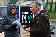 Climate change stand during the EFL Sky Bet League 2 match between Forest Green Rovers and Plymouth Argyle at the New Lawn, Forest Green, United Kingdom on 16 November 2019.