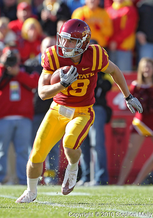 November 06 2010: Iowa State Cyclones returner Josh Lenz (19) runs with the ball during the first half of the NCAA football game between the Nebraska Cornhuskers and the Iowa State Cyclones at Jack Trice Stadium in Ames, Iowa on Saturday November 6, 2010. Nebraska defeated Iowa State 31-30.
