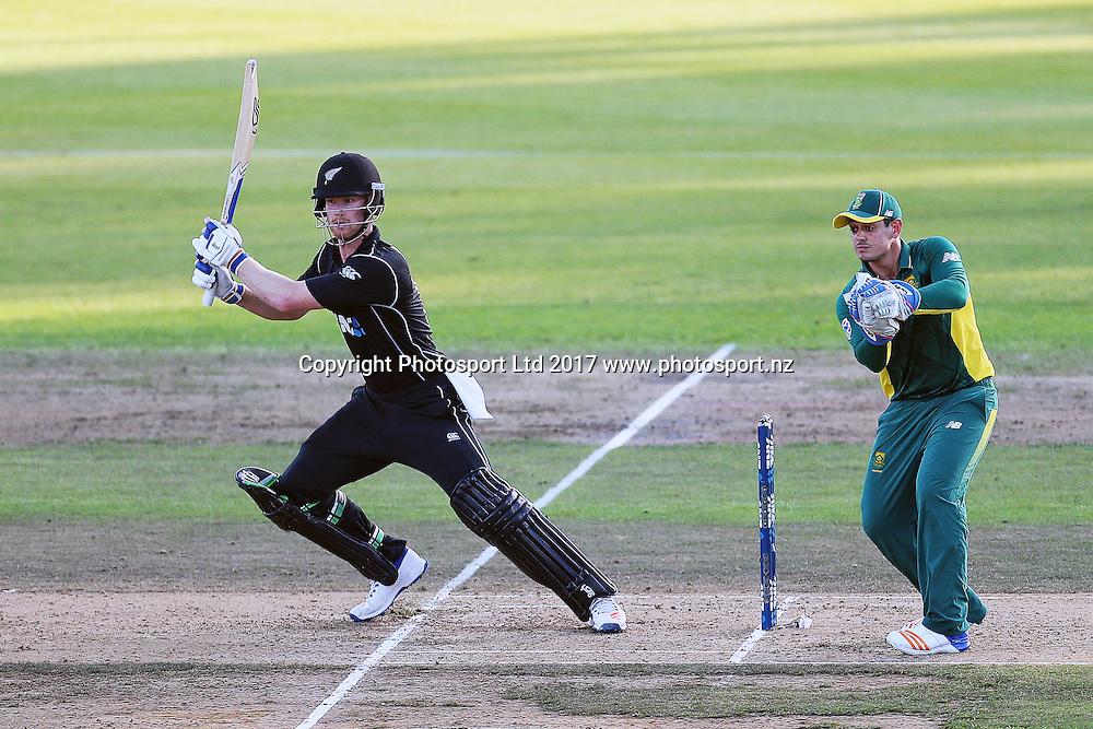 Blackcaps' James Neesham batting during the One Day International cricket match - New Zealand Black Caps v South Africa played at Seddon Park, Hamilton, New Zealand on Sunday 19 February 2017.  Copyright photo: Bruce Lim / www.photosport.nz