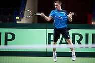 Jan Zielinski of Poland while training session three days before the BNP Paribas Davis Cup 2014 between Poland and Croatia at Torwar Hall in Warsaw on April 1, 2014.<br /> <br /> Poland, Warsaw, April 1, 2014<br /> <br /> Picture also available in RAW (NEF) or TIFF format on special request.<br /> <br /> For editorial use only. Any commercial or promotional use requires permission.<br /> <br /> Mandatory credit:<br /> Photo by © Adam Nurkiewicz / Mediasport
