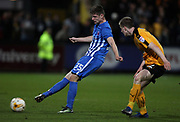 Scott Wharton of Cambridge United and Kenton Richardson of Hartlepool United in action during the EFL Sky Bet League 2 match between Cambridge United and Hartlepool United at the Cambs Glass Stadium, Cambridge, England on 14 March 2017. Photo by Harry Hubbard.