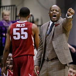 Jan 16, 2016; Baton Rouge, LA, USA; Arkansas Razorbacks head coach Mike Anderson during the second half of a gameagainst the LSU Tigers at the Pete Maravich Assembly Center. LSU defeated Arkansas 76-74. Mandatory Credit: Derick E. Hingle-USA TODAY Sports