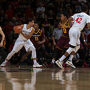 10 December 2016: The San Diego State Aztecs men's basketball team host's Saturday afternoon at Viejas Arena. San Diego State guard Trey Kell (3) drives the ball on Arizona State guard Shannon Evans II (11) in the first half. The Aztecs lead the Sun Devils 32-25 at half time. www.sdsuaztecphotos.com