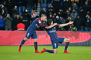 Edinson Roberto Paulo Cavani Gomez (psg) (El Matador) (El Botija) (Florestan) scored the second goal of the game, celebration with Marco Verratti (psg) during the French Championship Ligue 1 football match between Paris Saint-Germain and ESTAC Troyes on November 29, 2017 at Parc des Princes stadium in Paris, France - Photo Stephane Allaman / ProSportsImages / DPPI