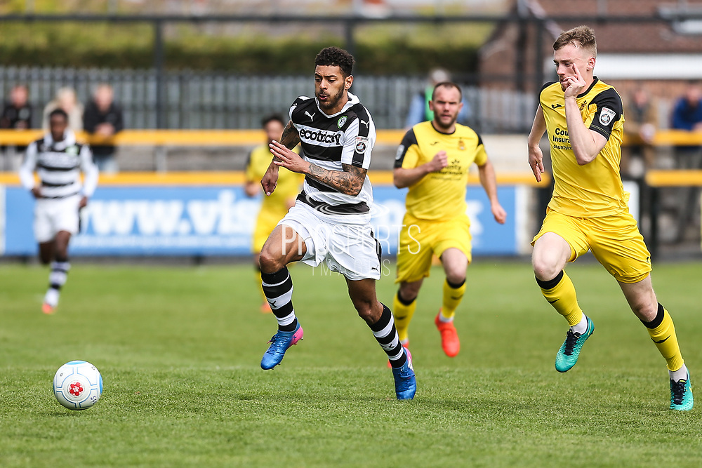 Forest Green Rovers Kaiyne Woolery(14) chases the ball during the Vanarama National League match between Southport and Forest Green Rovers at the Merseyrail Community Stadium, Southport, United Kingdom on 17 April 2017. Photo by Shane Healey.