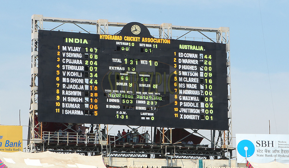 The scoreboard after the end of the match during day 4 of the 2nd Airtel Test match between India and Australia held at the The Rajiv Gandhi International Stadium in Hyderabad on the 5th March 2013..Photo by Ron Gaunt/BCCI//SPORTZPICS..Use of this image is subject to the terms and conditions as outlined by the BCCI. These terms can be found by following this link:..http://www.sportzpics.co.za/image/I0000SoRagM2cIEc