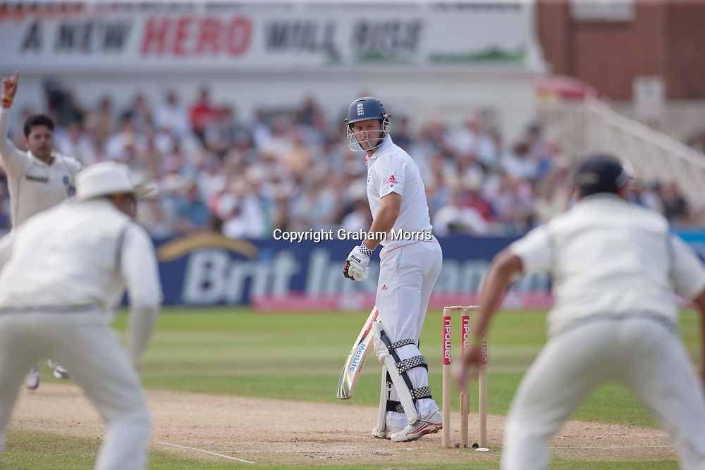 Andrew Strauss is out caught off the bowling of Sreesanth during the second npower Test Match between England and India at Trent Bridge, Nottingham.  Photo: Graham Morris (Tel: +44(0)20 8969 4192 Email: sales@cricketpix.com) 31/07/11