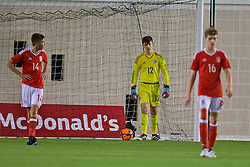 EDINBURGH, SCOTLAND - Tuesday, November 1, 2016: Wales' goalkeeper Luke Burton looks dejected as Scotland score the opening goal during the Under-16 2016 Victory Shield match at ORIAM. (Pic by David Rawcliffe/Propaganda)