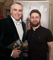 Paul Fahy, Galway International Arts Festival Artistic Director with Aaron Monaghan, DRUID, at the launch of the Galway International Arts Festival programme. the Festival will run from the 11th to the 24th of July 2016 at the Gaslight Bar, Hotel Meyrick. Photo:Andrew Downes