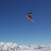 Harrison Gray, Canada, in action during the Snowboard Slopestyle Men's competition at Snow Park, New Zealand during the Winter Games. Wanaka, New Zealand, 21st August 2011. Photo Tim Clayton