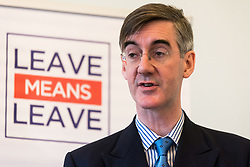 © Licensed to London News Pictures. 27/03/2018. Brexit hard liner Jacob Rees-Mogg delivers a Brexit speech at the Leave Means Leave event. London, UK. Photo credit: Ray Tang/LNP