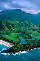Aerial above Wainiha Bay, north shore of Kaua'i, Hawaii