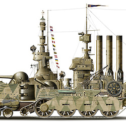 Steampunk cutaway illustration of a 19th-century industrial steam powered amphibious armoured vehicle. Highly detailed image showing interior workings, made up of over 10,000 original illustrations and photo-composite element.