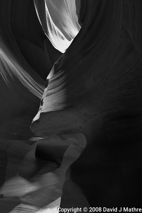 Upper Antelope Canyon, Page Arizona. Image taken with a Nikon D3 camera and 14-24 mm f/2.8 lens (ISO 200, 24 mm, f/16, 30 sec). Image processed with Capture One Pro. Converted to B&W with NIK Silver Efex Pro 2