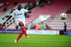 Bristol City's Marlon Harewood shoots - Photo mandatory by-line: Dougie Allward/JMP - Tel: Mobile: 07966 386802 27/03/2013 - SPORT - FOOTBALL - Goldsands Stadium - Bournemouth -  Bournemouth V Bristol City - Pre Season friendly