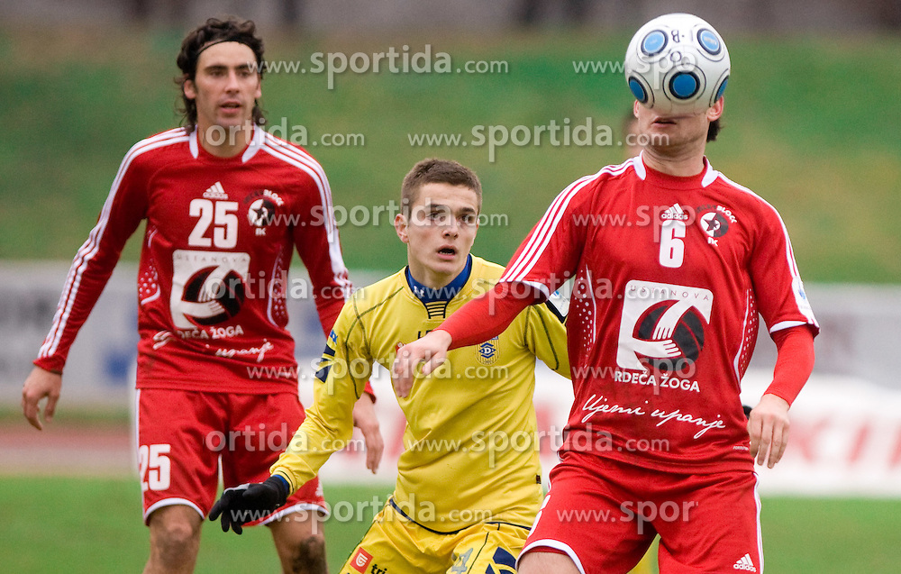 Mario Lucas Horvat of Interblock, Amer Krcic of Domzale vs Alen Jogan of Interblock at  football match of 20th Round of First League between NK Interblock and NK Domzale, on December 5, 2009,  in ZSD Ljubljana, Ljubljana, Slovenia.  Interblock defeated Domzale 2:1. (Photo by Vid Ponikvar / Sportida)