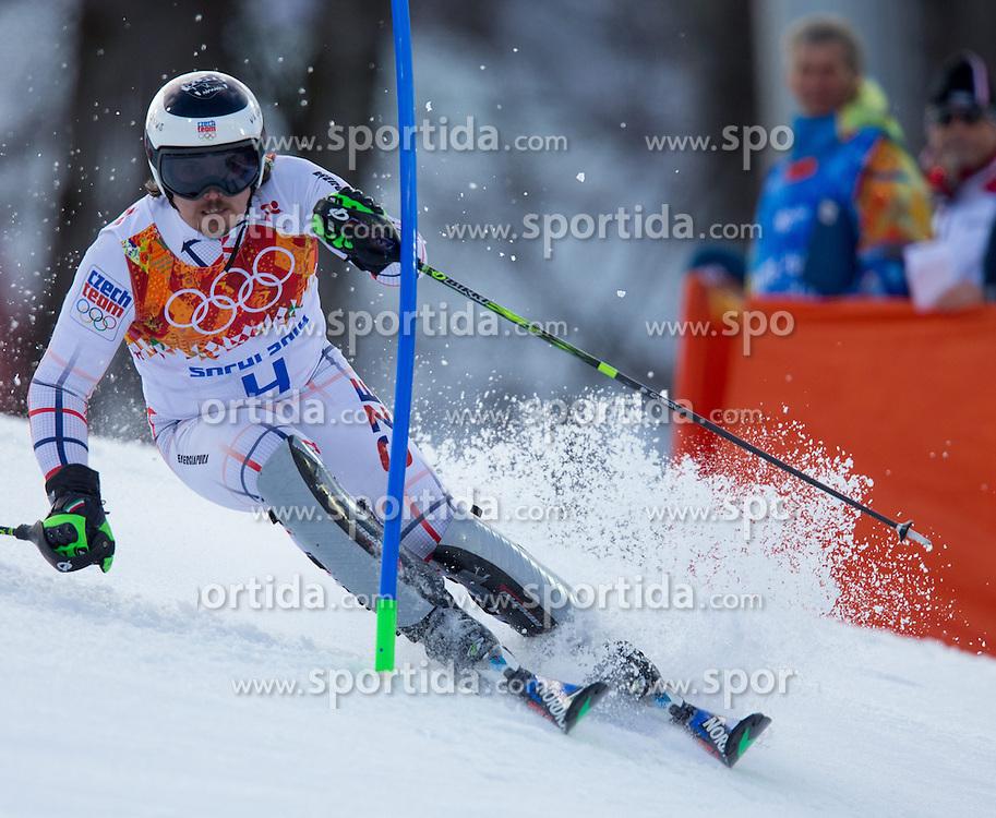 14.02.2014, Rosa Khutor Alpine Center, Krasnaya Polyana, RUS, Sochi 2014, Super- Kombination, Herren, Slalom, im Bild Ondrej Bank (CZE) // Ondrej Bank of Czech Republic in action during the Slalom of the mens Super Combined of the Olympic Winter Games 'Sochi 2014' at the Rosa Khutor Alpine Center in Krasnaya Polyana, Russia on 2014/02/14. EXPA Pictures © 2014, PhotoCredit: EXPA/ Johann Groder