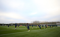General view of Willian (centre) and team-mates during the training session at London Colney, Hertfordshire.