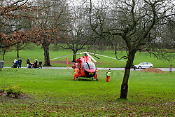 © Licensed to London News Pictures. 17/12/2019. London, UK. An Air Ambulance on stand-by in Finsbury Park, north London.<br /> A person has died after being hit by a train at Harringay overground station in north London. According to the British Transport Police, officers were called to the Harringay overground station shortly before 11.50 am of a casualty on the tracks. Paramedics attendance and the person was pronounced dead the the scene.  Photo credit: Dinendra Haria/LNP