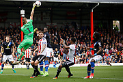 Brentford goalkeeper Daniel Bentley (1) stretches to tip the ball from danger (Score 1-2) during the EFL Sky Bet Championship match between Brentford and Blackburn Rovers at Griffin Park, London, England on 7 May 2017. Photo by Andy Walter.