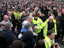 The Ball is paraded through the crowd before the game - Mandatory byline: Robbie Stephenson/JMP - 09/02/2016 - FOOTBALL -  - Ashbourne, England - Up'Ards v Down'Ards - Royal Shrovetide Football