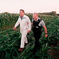 GP UK ED Peter Melchett arrested for removing genetically engineered maize from trial farm in Lyng, UK. Accession #: 2.99.397.001.30
