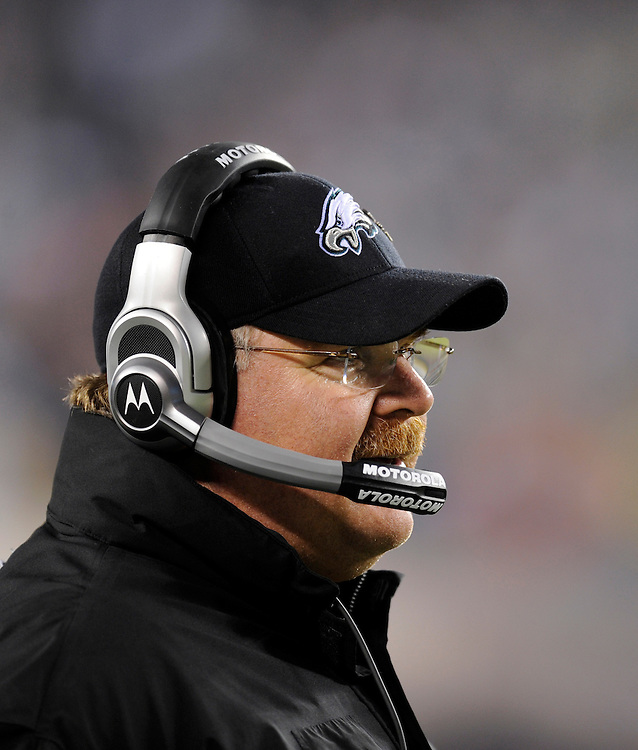 PHILADELPHIA - NOVEMBER 08: Head Coach Andy Reid of the Philadelphia Eagles looks on against the Dallas Cowboys at Lincoln Financial Field on November 8, 2009 in Philadelphia, Pennsylvania. The Cowboys defeated the Eagles  20-16. (Photo by Rob Tringali) *** Local Caption *** Andy Reid