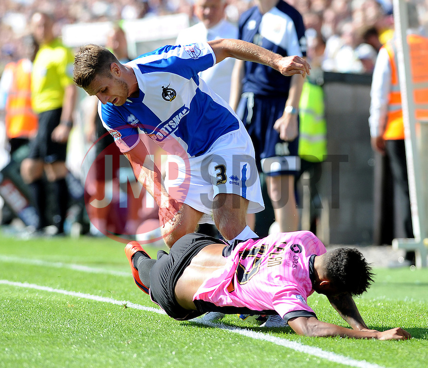 Lee Brown of Bristol Rovers is halted by Josh Lelan of Northampton Town - Mandatory byline: Neil Brookman/JMP - 07966386802 - 08/08/2015 - FOOTBALL - Memorial Stadium -Bristol,England - Bristol Rovers v Northampton Town - Sky Bet League Two