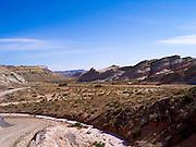 The colorful Bentonite Hills and Wood Bench near Hanksville, Utah.