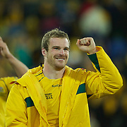 Pat McCabe, Australia, (centre) celebrates his teams victory after the South Africa V Australia Quarter Final match at the IRB Rugby World Cup tournament. Wellington Regional Stadium, Wellington, New Zealand, 9th October 2011. Photo Tim Clayton...