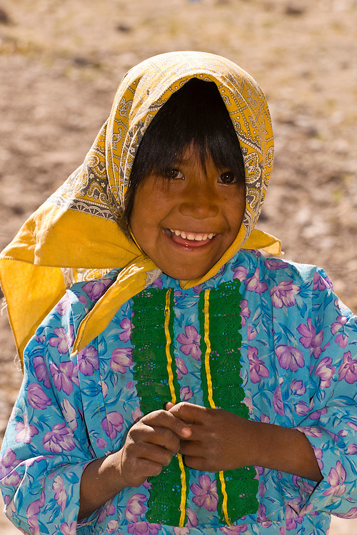 Tarahumara Indian girl outside the Tarahumara Boarding School, Ejido San Alonso, near San Rafael, Copper Canyon, Mexico