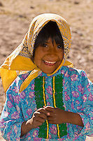 Tarahumara Indian girl outside the Tarahumara Boarding School, Ejido San Alonso, near San Rafael, Copper Canyon, Mexico