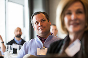 David Bianco listens to a panel discussion during the Business of Cannabis event at the Silicon Valley Capital Club in San Jose, California, on April 4, 2019. (Stan Olszewski for Silicon Valley Business Journal)