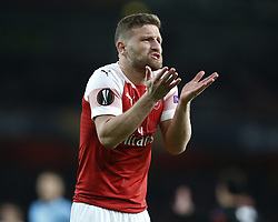 March 14, 2019 - London, United Kingdom - London, UK, 14 March, 2019.Shkodran Mustafi of Arsenal.during Europa League Round of 16 2nd Leg  between Arsenal and Rennes at Emirates stadium , London, England on 14 Mar 2019. (Credit Image: © Action Foto Sport/NurPhoto via ZUMA Press)