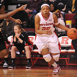 Feb 24, 2009; Piscataway, NJ, USA; Rutgers guard Brittany Ray (35) drives to the basket during the first half of Rutgers' 71-53 victory over Cincinnati at the Louis Brown Athletic Center.