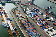 Nederland, Zuid-Holland, Rotterdam, 28-09-2014; Heijplaat met Waalhaven. <br /> Containerterminals en containeroverslag tussen zeeschepen en binnenvaartschepen.<br /> Waalhaven, container storage and transshipment, the Port of Rotterdam   (Waal harbour).<br /> luchtfoto (toeslag op standard tarieven);<br /> aerial photo (additional fee required);<br /> copyright foto/photo Siebe Swart.