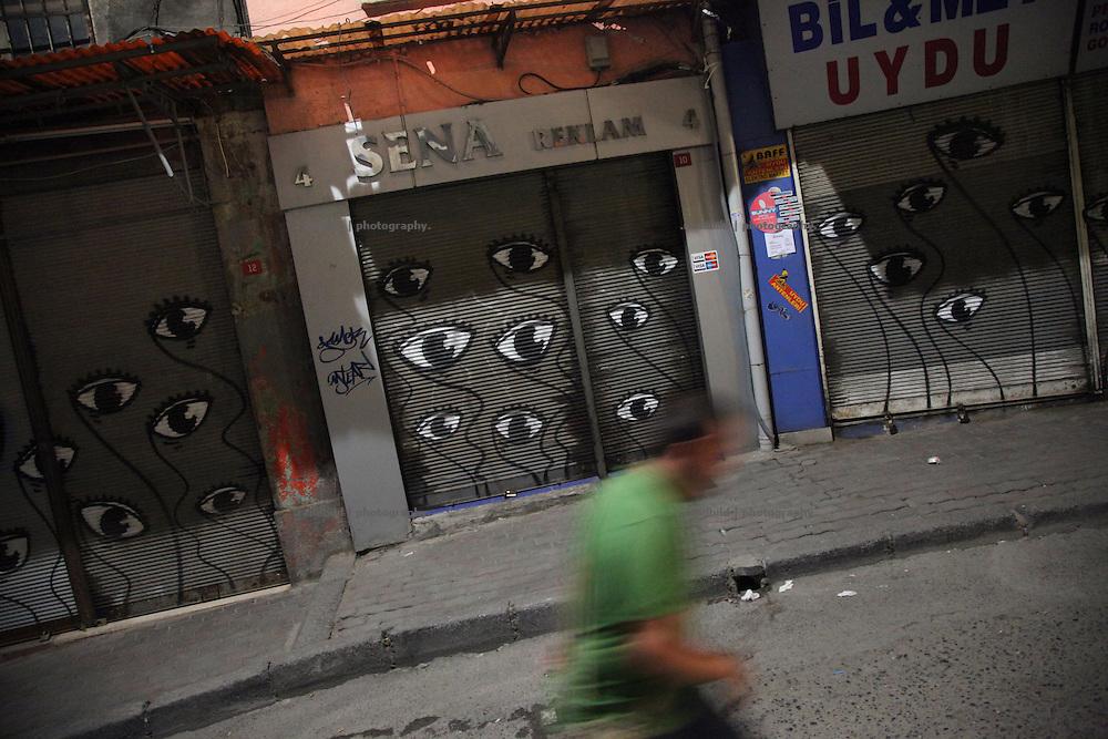 Graffiti Eyes downtown Istanbul.
