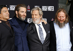 Gil Birmingham, Chris Pine, David Mackenzie and Jeff Bridges at Jeff Bridges Hand And Footprint Ceremony held at the TCL Chinese Theatre IMAX in Hollywood, USA on January 6, 2017.