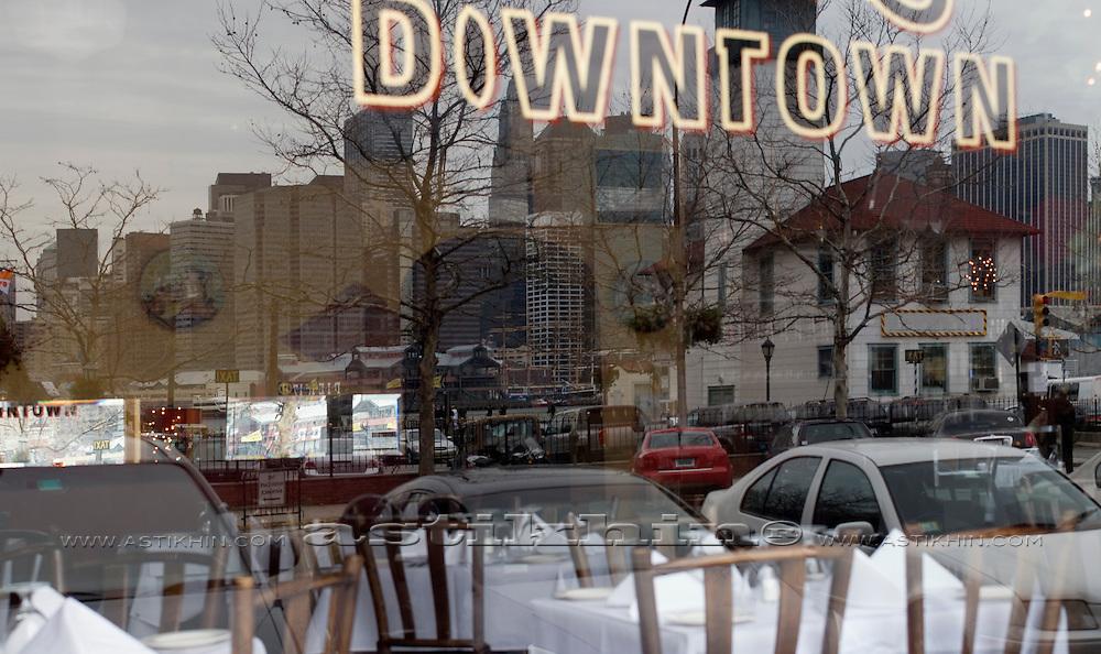 Manhattan in window