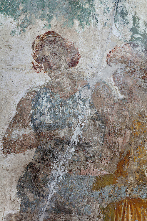 Detail of a nymph from the fresco panel of Hercules in the Garden of the Hesperides, in the triclinium of the Casa del Sacerdos Amandus, or House of the Priest Amandus, Pompeii, Italy. The fresco is in the Third Style of Roman wall painting, 20–10 BC, characterised by an ornamental elegance in figurative and colourful decoration. Pompeii is a Roman town which was destroyed and buried under 4-6 m of volcanic ash in the eruption of Mount Vesuvius in 79 AD. Buildings and artefacts were preserved in the ash and have been excavated and restored. Pompeii is listed as a UNESCO World Heritage Site. Picture by Manuel Cohen