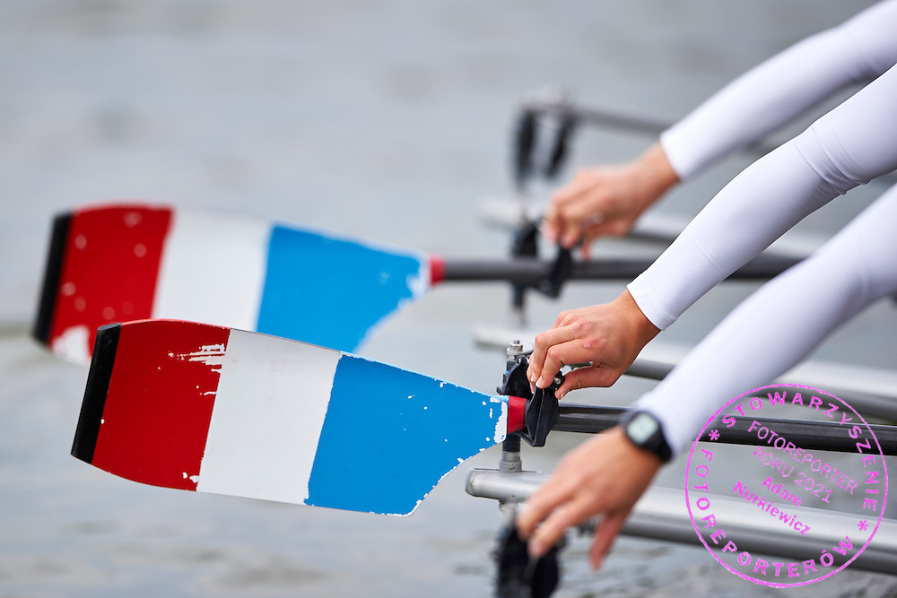 French oars during second day the 2015 European Rowing Championships on Malta Lake on May 30, 2015 in Poznan, Poland<br /> Poland, Poznan, May 30, 2015<br /> <br /> Picture also available in RAW (NEF) or TIFF format on special request.<br /> <br /> For editorial use only. Any commercial or promotional use requires permission.<br /> <br /> Mandatory credit:<br /> Photo by &copy; Adam Nurkiewicz / Mediasport