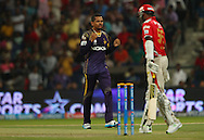 Sunil Narine of the Kolkata Knight Riders celebrates the wicket of Lakshmipathy Balaji of the Kings X1 Punjab during match 15 of the Pepsi Indian Premier League 2014 Season between The Kings XI Punjab and the Kolkata Knight Riders held at the Sheikh Zayed Stadium, Abu Dhabi, United Arab Emirates on the 26th April 2014<br /> <br /> Photo by Ron Gaunt / IPL / SPORTZPICS