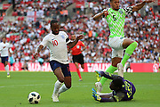 England Raheem Sterling (10) diving and trying to win a penalty during the Friendly International match between England and Nigeria at Wembley Stadium, London, England on 2 June 2018. Picture by Matthew Redman.