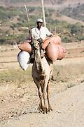 Ethiopia, Tigray Region, Yeha, Man rides a camel
